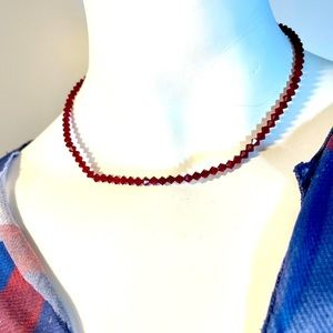 """Simple and shiny ruby red beaded necklace 14"""""""